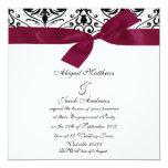 "Black Damask And Burgundy Ribbon Engagement Invite 5.25"" Square Invitation Card"