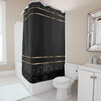 Black Damask and Gold Bar Design Shower Curtain