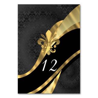 Black damask and gold fleur de lys card