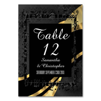 Black damask and gold personalized table card