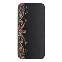 Black Damask and Jewels iPhone 4G Case