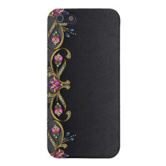 Black Damask And Jewels Iphone 4g Case at Zazzle