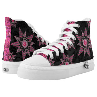 Black Damask and Pink Glitter Shoes Printed Shoes