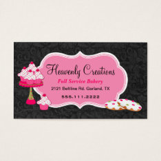 Black Damask And Pink Sweets Bakery Business Card at Zazzle