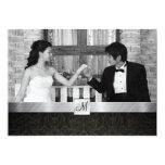 "Black Damask and Silver Modern Wedding Invites 5"" X 7"" Invitation Card"