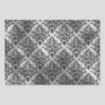 Black Damask and Silver Wrapping Paper Sheets