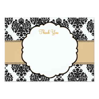 Black Damask and Tan Thank You Card