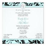 Black Damask Aqua Blue Wedding Invitation