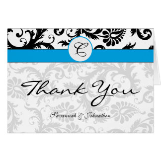 Black Damask Aqua Borders Thank You Greeting Cards