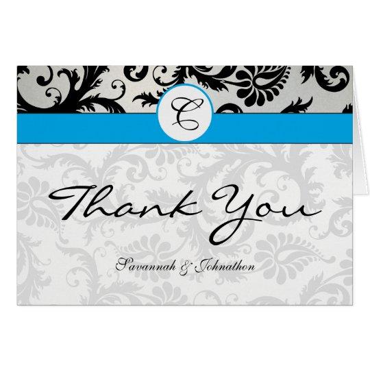 Black Damask Aqua Hawaiian Surf Thank You Card