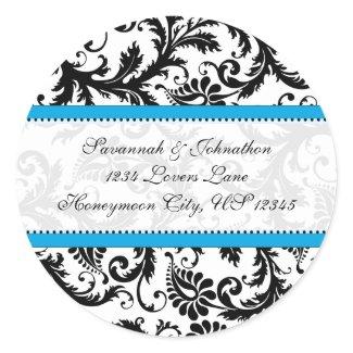 Black Damask Aquamarine Trim Wedding Seal sticker