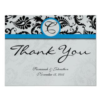 Black Damask Aquamarine Trim Wedding Thank You Card
