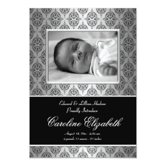 Black Damask Baby Birth Announcements