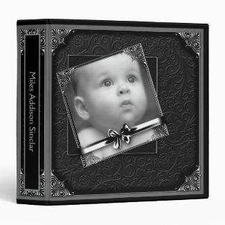 Black Damask Baby Photo Album Vinyl Binder