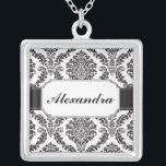 """Black Damask Banded Personalized Necklace<br><div class=""""desc"""">A different take on the usual monogram necklace. A black damask pattern offsets the band that holds your name or any other message you like. Available in alternate colors with matching products.</div>"""