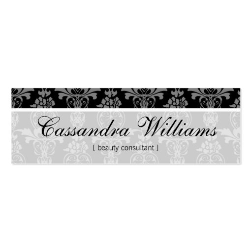 Black Damask Beauty Micro Mini Business Cards