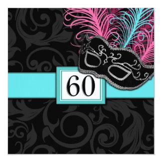 """Black Damask Birthday Masquerade Invitations 5.25"""" Square Invitation Card"""