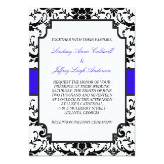 Black Damask Blue Accent Wedding Invitation