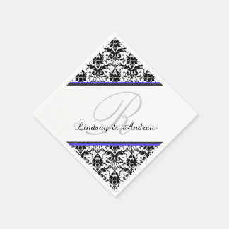 Black Damask Blue Gray Monogram Wedding Napkin