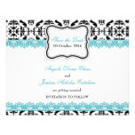 Black Damask Blue Lace Save the Date Personalized Invitation