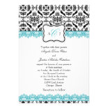 Black Damask Blue Lace Wedding Invitatio Custom Invite