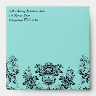 Black Damask Blue Wedding Envelopes