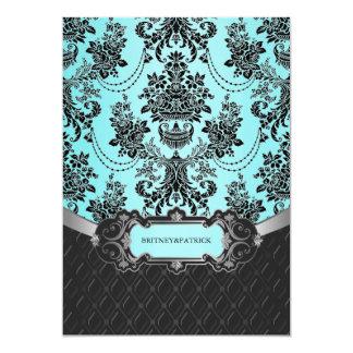 Black Damask Blue Wedding Invitations