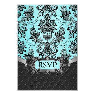 Black Damask Blue Wedding RSVP Cards