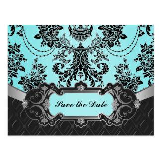 Black Damask Blue Wedding Save the Dates Postcard