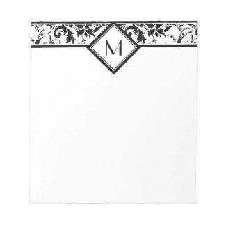 Black Damask Border and Monogram Memo Notepads