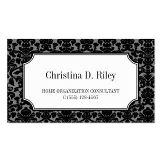 Black damask border frame consultant professional business card