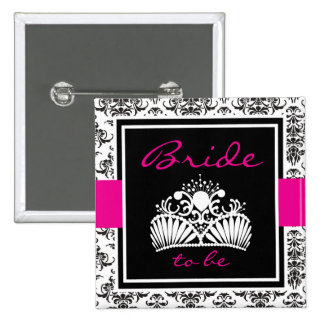 Black Damask Bridal Button Pin