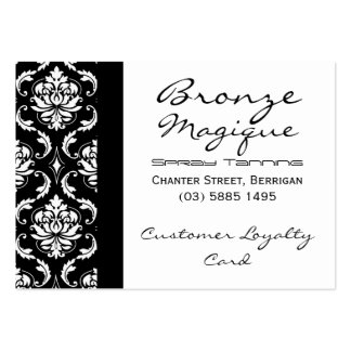 Black Damask Business Customer Loyalty Cards Large Business Cards (Pack Of 100)