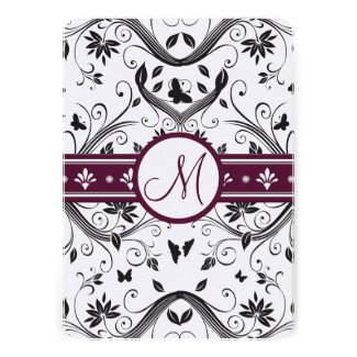 Black Damask Butterfly Swirls Plum Wedding Invites