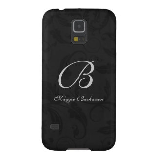 Black Damask Classic Monogrammed Galaxy S5 Cover