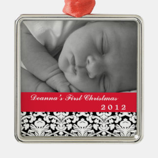 Black damask classic red band baby's first holiday square metal christmas ornament