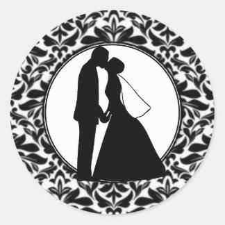 Black Damask & Couple Kiss Stickers