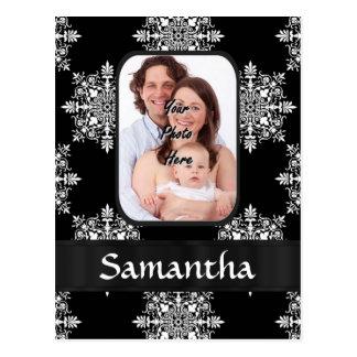 Black damask custom photo postcard