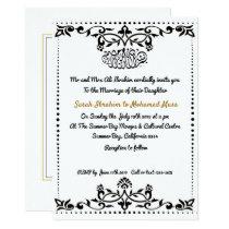 Black Damask decorative Muslim wedding Invitation