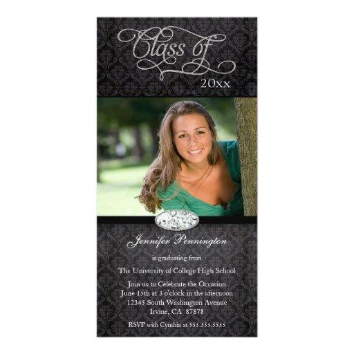 Black damask diamond graduation party announcement photo card