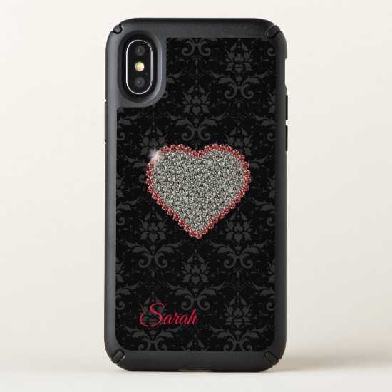 Black Damask Diamond Heart iPhone X Case