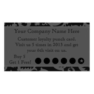 Black Damask Discount Promotional Punch Card