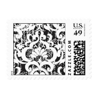 Black damask distressed postage stamp