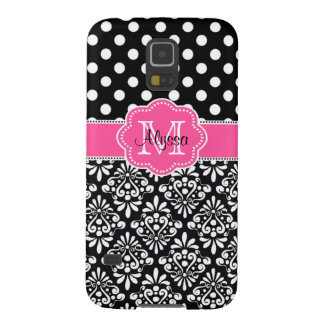 Black Damask Dots Pink Personalized Phone Case Galaxy S5 Cover