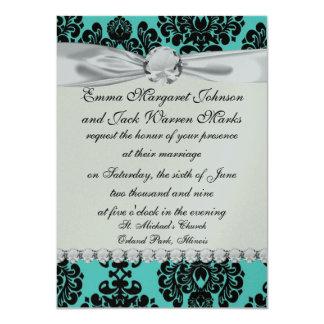 black damask elegance on aqua aquamarine blue card