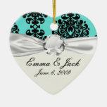 black damask elegance on aqua aquamarine blue ceramic ornament