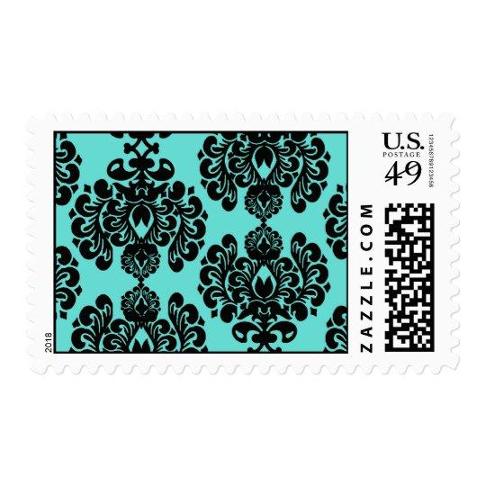 black damask elegance on aqua aquamarine blue postage stamp