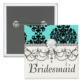 black damask elegance on aqua blue 2 inch square button