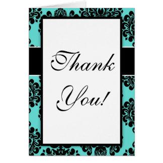 black damask elegance on aqua blue design greeting cards