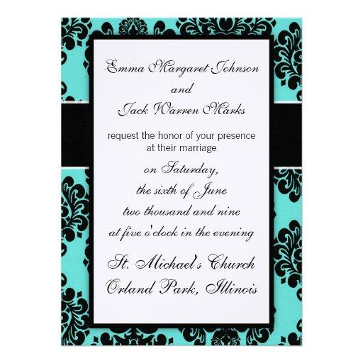 black damask elegance on aqua blue design invitation